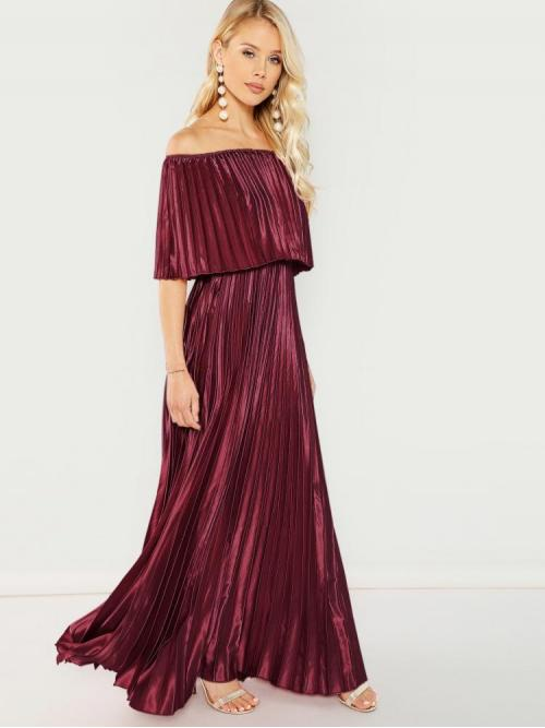 Burgundy Plain Pleated off the Shoulder Prom Dress Discount
