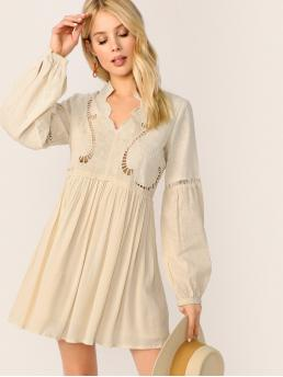 Beige Plain Embroidery Stand Collar Ladder Trim Peasant Dress Trending now