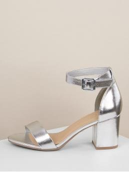 Business Casual Plain Ankle Strap Silver Mid Heel Chunky Metallic PU Open Toe Ankle Strap Heels