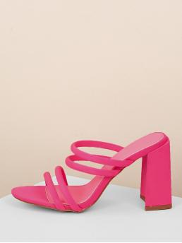 Glamorous Open Toe Plain Pink and Bright High Heel Chunky Neon Multi Strap Chunky Heel Sandals