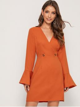 Elegant A Line Plain Straight Regular Fit V neck Long Sleeve High Waist Orange and Bright Short Length Button Front Flounce Sleeve Dress