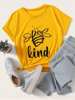 Casual Letter Regular Fit Round Neck Short Sleeve Regular Sleeve Pullovers Yellow Regular Length Letter Graphic Round Neck Tee