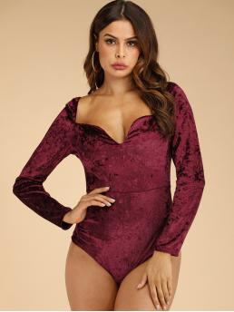 Glamorous Other Plain Skinny Sweetheart Long Sleeve Regular Sleeve Mid Waist Burgundy Velvet Sweetheart Neck Slim Bodysuit