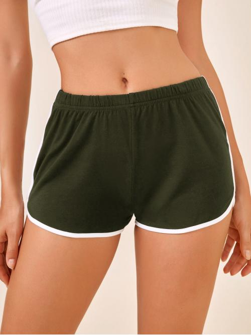 Army Green Natural Waist Contrast Binding Track Shorts Graphic Dolphin Shorts Pretty