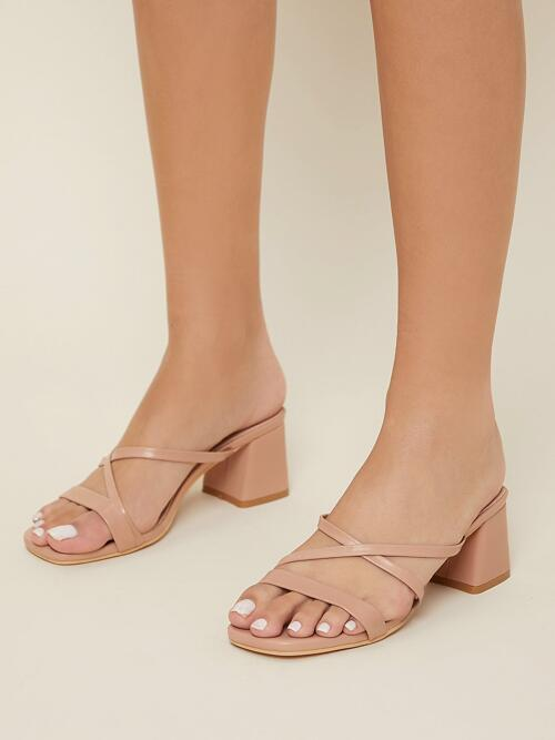 Apricot Slide Sandals Mid Heel Chunky Faux Leather Square Toe Block Heels Fashion