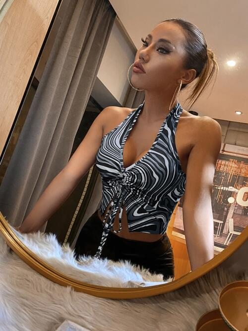 Halter Split Polyester Graphic Front Top Discount