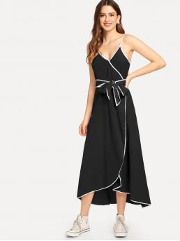 Trending now Black Plain Wrap Spaghetti Strap Contrast Binding Surplice Dress