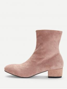 Corduroy Pink Stretch Boots Frill Plain Boots on Sale