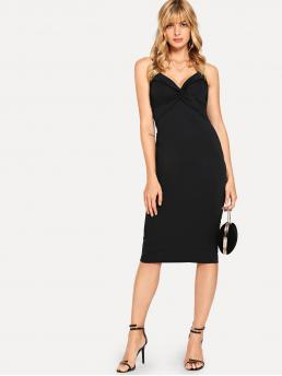 Discount Black Plain Ruched Spaghetti Strap Solid Dress