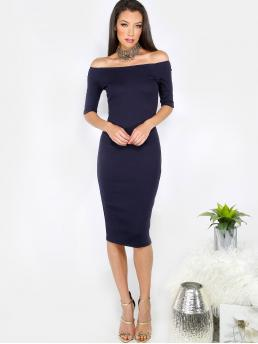 Navy Blue Plain Scallop off the Shoulder Black Sheath Dress on Sale