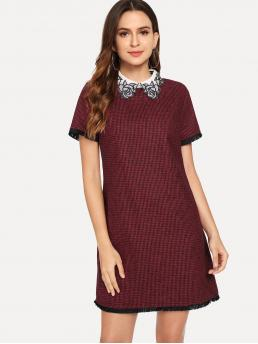Elegant and Preppy Tunic Houndstooth Straight Loose Collar Short Sleeve Regular Sleeve Natural Burgundy Short Length Embroidered Collar Fringe Lace Trim Houndstooth Dress