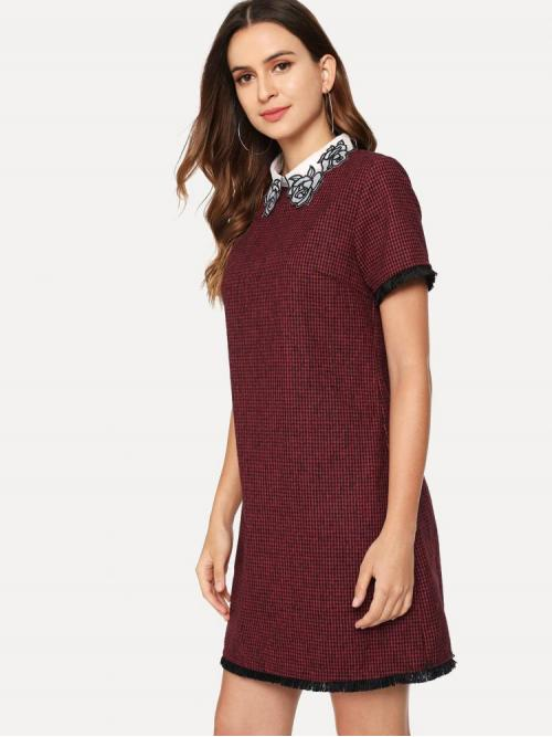 Pretty Burgundy Houndstooth Contrast Collar Collar Embroidered Fringe Lace Trim Dress