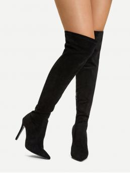 Black Stretch Boots High Heel Stiletto over the Knee Boots Ladies