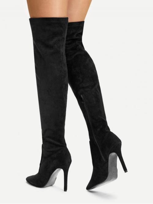 Polyester Black Stretch Boots Ruffle over the Knee Boots Discount