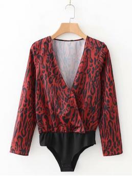 Elegant Leopard Regular V neck Long Sleeve Mid Waist Red Leopard Print Bodysuit