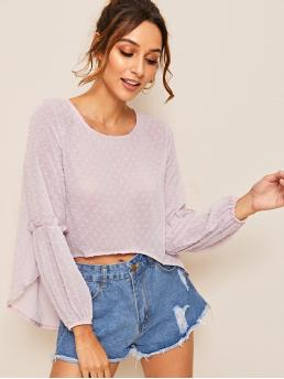 Casual Plain Top Regular Fit Round Neck Long Sleeve Bishop Sleeve Pullovers Purple and Pastel Regular Length Ruffle Trim Dobby Mesh Solid Blouse