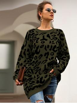 Discount Long Sleeve Pullovers Polyester Leopard Pattern Sweater