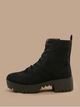 Business Casual Combat Boots Almond Toe Plain Side zipper Black Mid Heel Chunky Lace Up Platform Lug Sole Chunk Heel Combat Boots