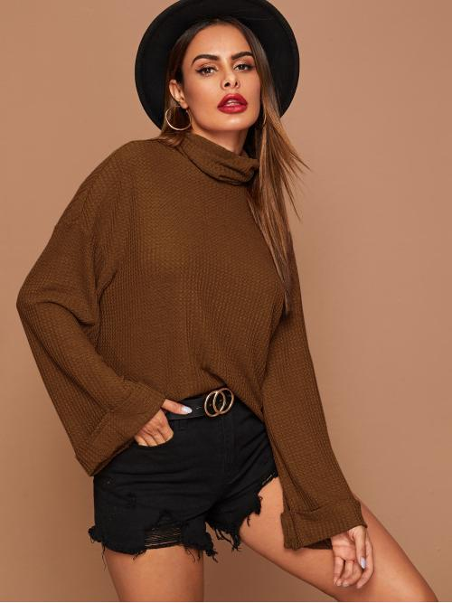 Casual Plain Regular Fit Funnel Neck Long Sleeve Flounce Sleeve Pullovers Brown Regular Length Funnel Neck Rolled Cuff Bell Sleeve Waffle Knit Tee