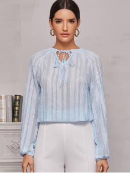 Romantic Plain Top Regular Fit Notched Long Sleeve Regular Sleeve Pullovers Blue and Pastel Regular Length Knot Front Notch Collar Blouse