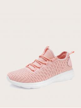 Pretty Pink Running Shoes Lace up Low-top Minimalist Decor Knit Running Shoes