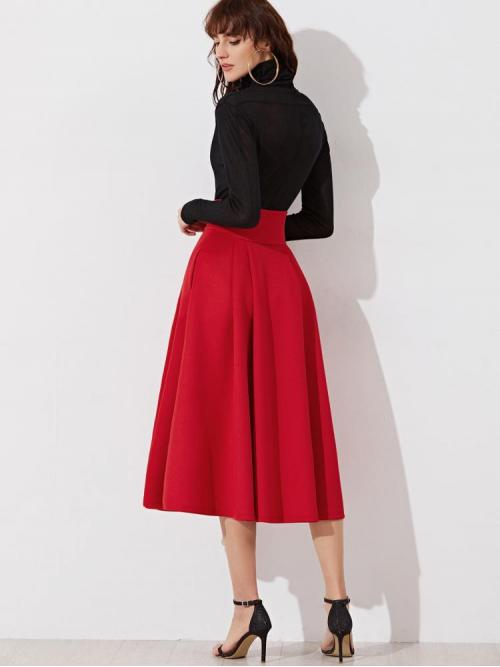 Red High Waist Pleated Flared Wide Waistband Zip Side Midi Clearance