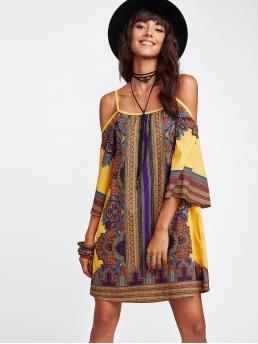 Boho Tunic Tribal Loose Spaghetti Strap Three Quarter Length Sleeve Natural Multicolor Short Length Tribal Print Cold Shoulder Dress