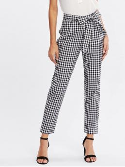 Preppy Gingham Tapered/Carrot Regular Zipper Fly Mid Waist Black and White Cropped Length Checkered Bow Tie Waist Smoking Pants