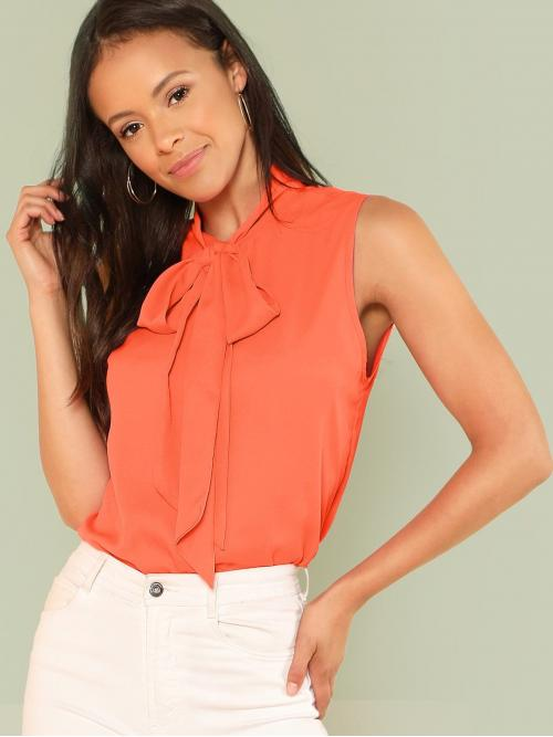 Sleeveless Top Knot Polyester Neon Solid Top Clearance