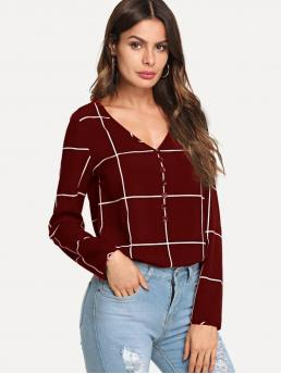 Long Sleeve Top Button Cotton Front Grid Top Affordable