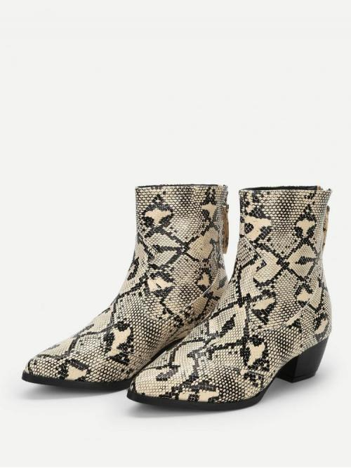 Discount Corduroy Multicolor Stretch Boots Buckle Snakeskin Print