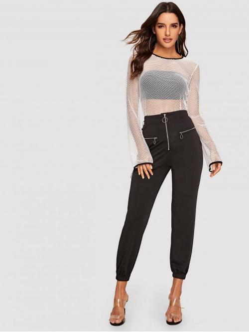 Long Sleeve Top Sheer Mesh Contrast Binding Fishnet Top Without Bandeau Trending now