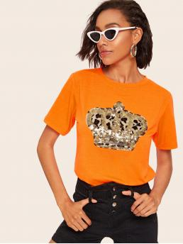 Casual Regular Fit Round Neck Short Sleeve Pullovers Orange and Bright Regular Length Neon Orange Contrast Sequin Patched Tee