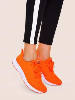 Comfort Almond Toe Neon and Orange Neon Orange Lace-up Front Trainers