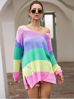Casual Rainbow Stripe Pullovers Oversized V neck Long Sleeve Pullovers Multicolor Longline Length Rainbow Striped Drop Shoulder Sweater