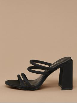 Glamorous Open Toe Plain Black High Heel Chunky Square Toe Strappy Chunky Heel Slide Sandals