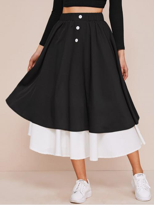 Casual A Line Colorblock High Waist Black Long/Full Length Button Front Contrast Hem Skirt