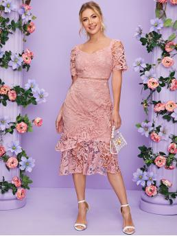 Romantic Fitted Plain Mermaid Regular Fit Sweetheart Short Sleeve Regular Sleeve High Waist Pink and Pastel Long Length Ruffle Detail Lace Overlay Mermaid Dress with Lining