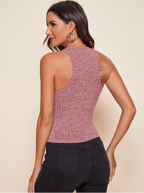 Tank Rib-knit Polyester Plain Solid Top Clearance
