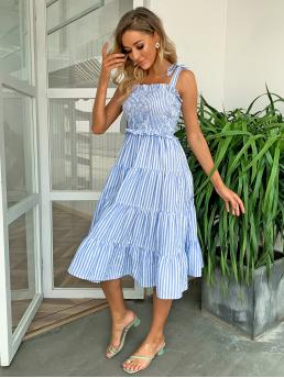 Blue and White Striped Shirred Straps Knotted Shoulder Dress Clearance