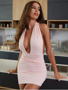 Baby Pink Plain Twist Halter Plunging Neck Backless Front Dress Clearance