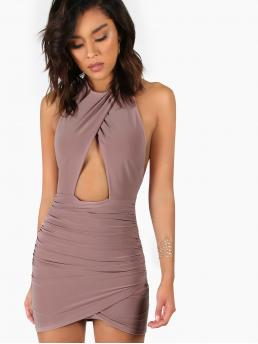 Purple Plain Ruched Halter Backless Peakaboo Dress Discount