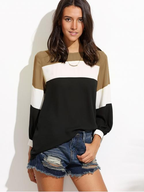 Long Sleeve Top Lace up Satin Lantern Sleeve Cut and Sew Top Cheap