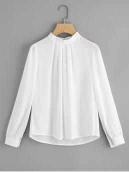 Long Sleeve Top Button Chiffon Pleated Detail Keyhole Back Blouse on Sale