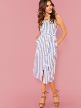 Casual Fitted Striped Slit Regular Fit Spaghetti Strap Sleeveless Natural Blue Long Length Button Through Self Belt Stripe Cami Dress