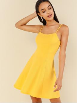 Sexy Cami Plain Flared Regular Fit Spaghetti Strap Sleeveless High Waist Yellow and Bright Short Length Criss Cross Back Cami Sundress