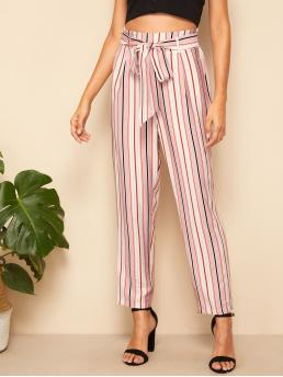 Casual Striped Tapered/Carrot Regular Elastic Waist and Zipper Fly High Waist Pink Cropped Length Paperbag Waist Self Belted Striped Pants with Belt