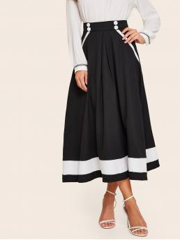 Casual Flared Colorblock High Waist Black and White Maxi Length Color Block Button Trim Flared Skirt