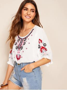 Boho Top Regular Fit Round Neck Half Sleeve Pullovers White Regular Length Floral Embroidered Blouse