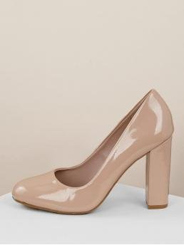 Business Casual Nude High Heel Chunky Round Almond Toe Block Heel Patent Pumps